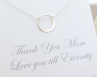 Mothers Necklace - mother daughter - eternity ring necklace - circle ring necklace - mother jewelry - mom gift - sterling silver jewelry
