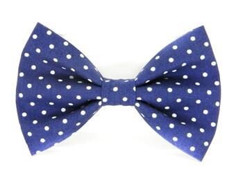 Navy Polka Dot Dog Bow Tie/ Collar Attachment/ Dog Bow: Navy Polka Dot