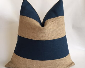Blue Linen/Cotton Fabric and Natural Burlap Striped Pillow Cover