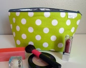 Makeup Bag, Lime Dot -- Zipper Cosmetic Bag
