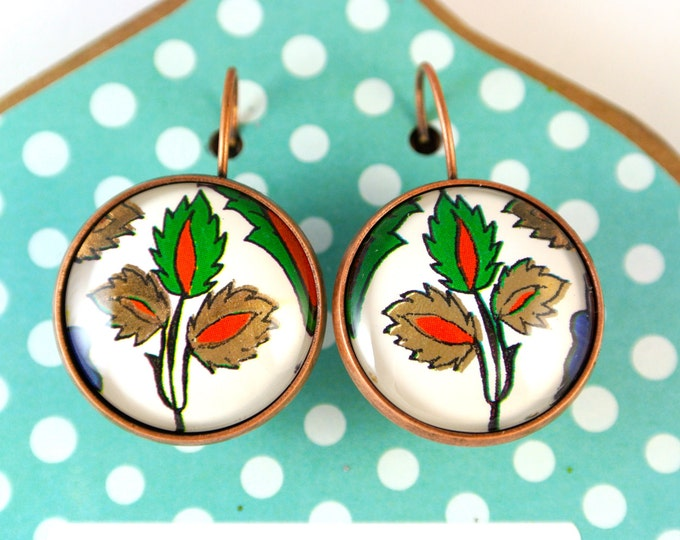 Turkish Art Earrings: Handmade Christmas Day Gift - Turkey Istanbul Grand Bazaar Iznik - Jewelry Flowers Traditional Artwork - Leaf Green