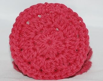 A Set of 6 Red Crochet Facial Scrubbies/Cotton Pads/Cleansing Pads - 100% Cotton - Ready to Ship