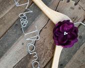 Personalized Hanger with Satin Flower, Colors, Wedding Dress hanger, Custom Hanger, Bride Hanger,Bridal Hanger, Bride Gift, Wedding Hanger