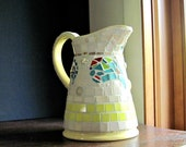 Mosaic Vase, Mosaic Pitcher, Up-cycled Vase, Paisley, Mosaic Yellow Pitcher, Mosaic Art, DIY Cottage Decor, Pique Assiette