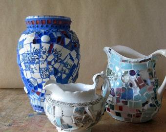 Vintage Ironstone, Mosaic Pitcher, Mosaic Vase, Mosaic Art, Antique Ironstone, Upcycled Pitcher, Pique Assiette, Antique Pitcher