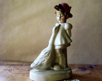 Chalkware Figurine, Girl and Goose, Vintage Chalkware, Chalk Figurine, Antique Figurines, Chalkware Girl, Plaster Figurine