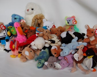 Vintage Beanie Baby collection Before 1996 Beanie Babies 30 pc Beanie Baby Collecion Teeny Beanies Standard Beanies Large Beanie