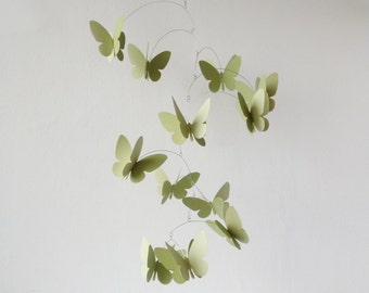 Kinetic mobile, Butterfly mobile, Hanging Mobile, Handpainted mobile, Home decor art, Neutral yellow green color
