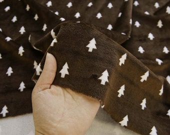 "Small Trees Smooth Minky Fabric - Choco Brown - 59"" Wide - By the Yard - Christmas Fabric - 67846"