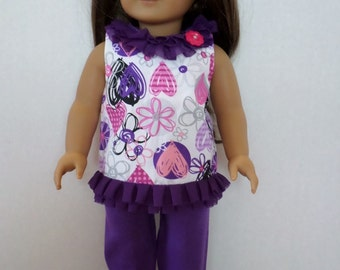 Purple and pink pant set fits American girl 18 inch doll clothes