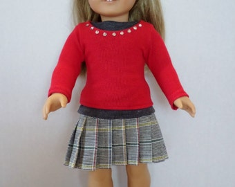 Plaid skirt , red rhinestone bling top fits American girl 18 inch doll clothes
