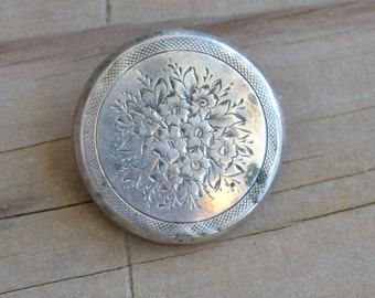 Gorgeous antique sterling silver victorian hollow ware brooch with floral design / wedding / bridal / something old