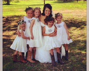 Flower Girl Dress, Monogrammed flower girl dress, flower girl dresses, solid white, ivory, cream, rustic flower girl dress, custom