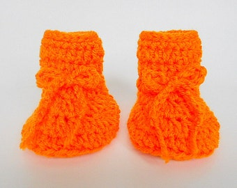Bright Orange  Baby Booties 3  6  9 Month Old  Infant Girl  Slippers Boy Halloween Crib Shoes Ready To Ship