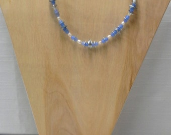 Light Blue Glass Beaded Necklace using Washers