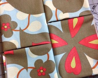 1 yard Amy Butler Lotus Morning Glory Fabric Linen AB14- Grey, Orange, Blue