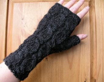Alpaca fingerless gloves / wrist warmers hand knitted charcoal