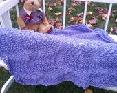 Beautiful Fan n Feather Hand Knit Baby Blanket