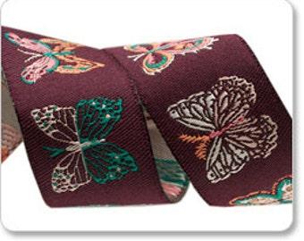 "BONNIE CHRISTINE 7/8"" ribbon--Aubergine Butterflies--price is per yard"