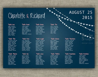 String lights Wedding seating chart - Personalized printable