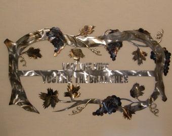 Christian grape vine metal wall art sculpture