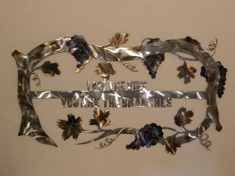 Wall Art Metal Sayings : Christian grape vine metal wall art sculpture