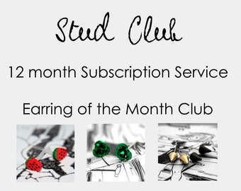 Stud Club Subscription - Earring of the Month Club (12 mths) - FREE POSTAGE Save 40% off RRP :)