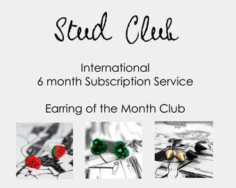 International Stud Club Subscription (outside the UK) - Earring of the Month Club (6 mths) Sent as ONE single parcel