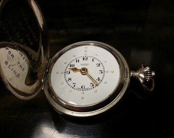 1930's 17 Jewel Swiss pocket watch For the Blind, Hunter case