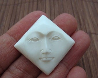 Hand Carved Diamond Shape Face Cabochon, Embellishment, Jewelry making Supplies  B3655
