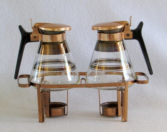 Rare Copper Carafettes Pair with Warming Stand - Vintage Coffee - Cappuccino - Latte - Home Kitchen Design