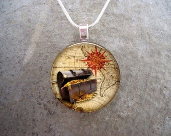 Pirate Jewelry - Glass Pendant Necklace - Pirate 1 - RETIRING 2017