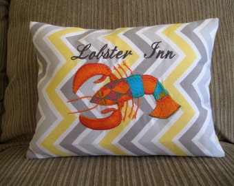 Embroidered Large Lobster Pillow Chevron Decor 14""