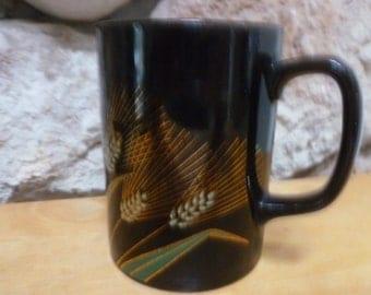 Vtg Otagiri Golden Wheat Harvest mug black gold white