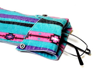 Southwest Eyeglass Case, Upcycled Mens Shirt Collar Sunglasses Pouch, Turquoise Stripe Eco Handmade Eyewear Sleeve itsyourcountryspirit