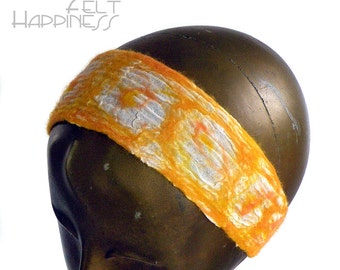 Yellow and White Headband for Woman - Sunny Nuno Felted Headband - Cheerful Bohemian Style - Less than 20 - Ready to Ship