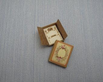 Gaël  Miniature Ladies romantic paper set in box  fixed 1 :12 Dollhouse Miniature Home Decor Accessory. Handmade miniatures