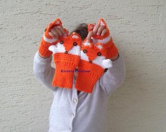 Fox gloves, children size, fox mittens, fox fingerless gloves, crochet animal gloves, gift for kids, christmas gift for kids