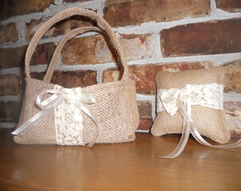 "Burlap ""Ring Bearer Pillow and Flower Girl Basket""........"