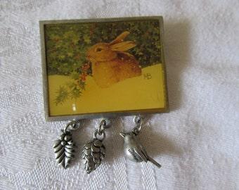 Bunny Rabbit Pin Brooch MAJOLEIN BASTIN Designer Easter