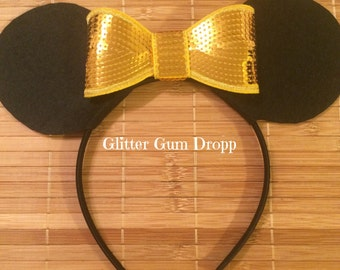 Minnie Mouse Ears with Gold Sequin Bow Headband for Children to Adult