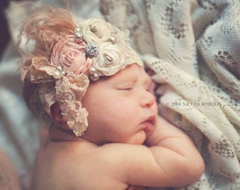 """Baby headband neutral tone and blush peach """"True to My Heart"""" Ivory creams, tans and peach blush silk Rolled Rosette Headband, Feathers,  si"""