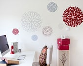 6 Abstract Flowers Vinyl Wall Sticker