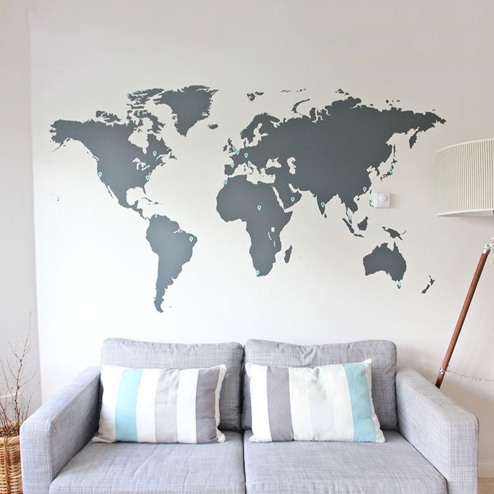World Map Vinyl Wall Sticker Decall Home Decor By