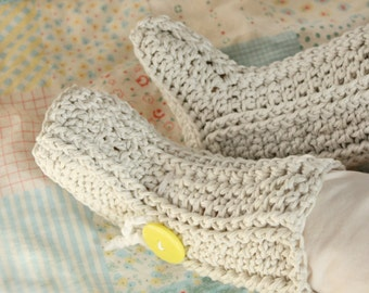 Crochet Baby Booties PATTERN, Classic Ribbed Boots Shoes Slipper Boy Girl #300