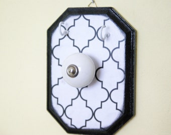Necklace Hanger, Jewelry Display, Black and White, Wall Decor, Key Holder