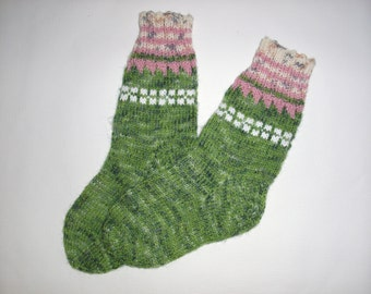 Hand Knitted Wool Socks -Colorful for Women - Knitted Socks -Size Small Medium-US W6,5-7,EU37,5-38