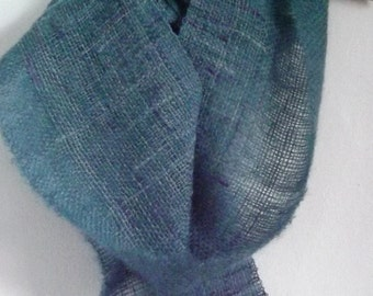 Into Blue OOAK  Handwoven scarf with handspun yarn - Shetland Kid mohair and silk handmade luxury scarf