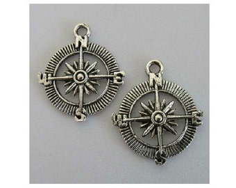 6 Compass Large Charms Pendants Steampunk Atq Silver Tone or Copper Tone Navigation Charm 25 mm