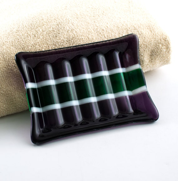 Green and purple fused glass soap dish bath by nostalgianmore for Purple glass bathroom accessories